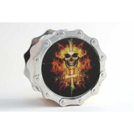 Metal Weed Grinder Skull in Fire
