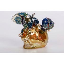 Glass Bubbler Gold Skull