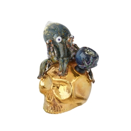 Glass Bubbler Gold Skull