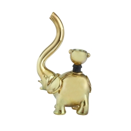 Elephant Glass Bubbler, Gold Rose