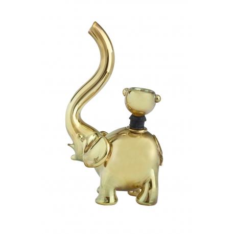 Elephant Glass Bubbler, Gold Rose