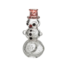 Glass Pipe Mini Snowman with Red Hat