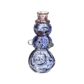 Glass Pipe Mini Snowman Blue